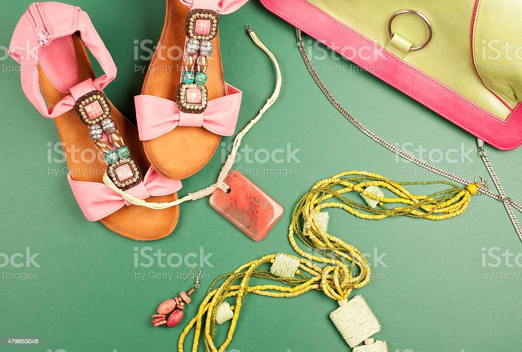 Pink and green summer fashion stock photo
