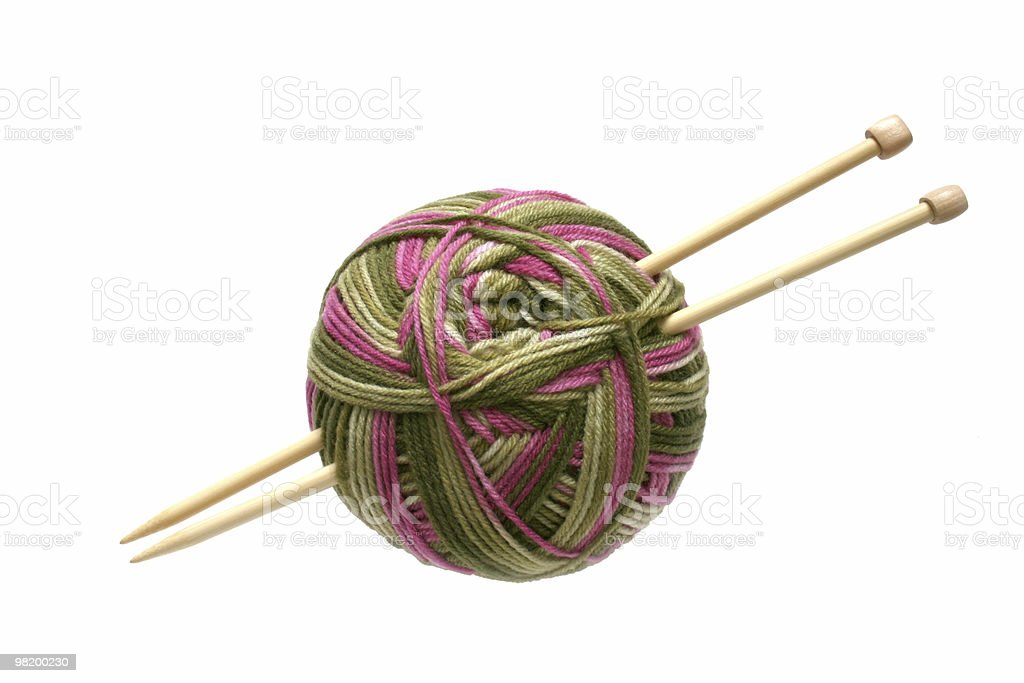 pink and green yarn royalty-free stock photo