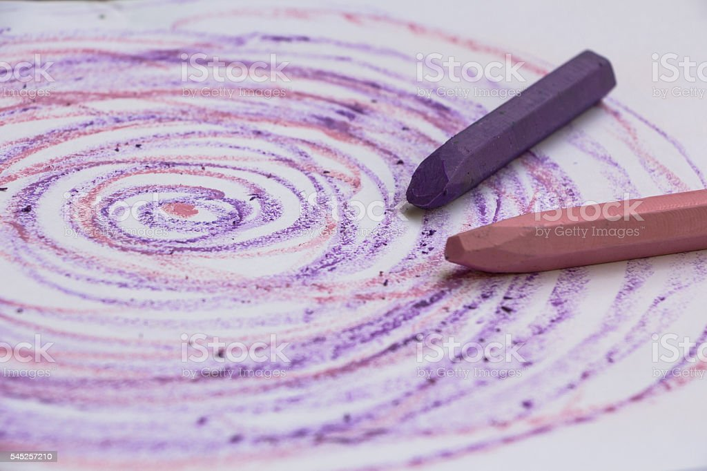 Pink and lilac crayons stock photo