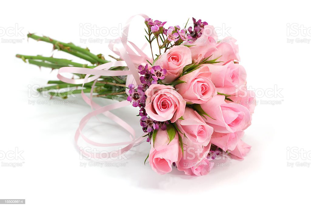 Pink and mauve rose flower bouquet isolated on white , shadows stock photo