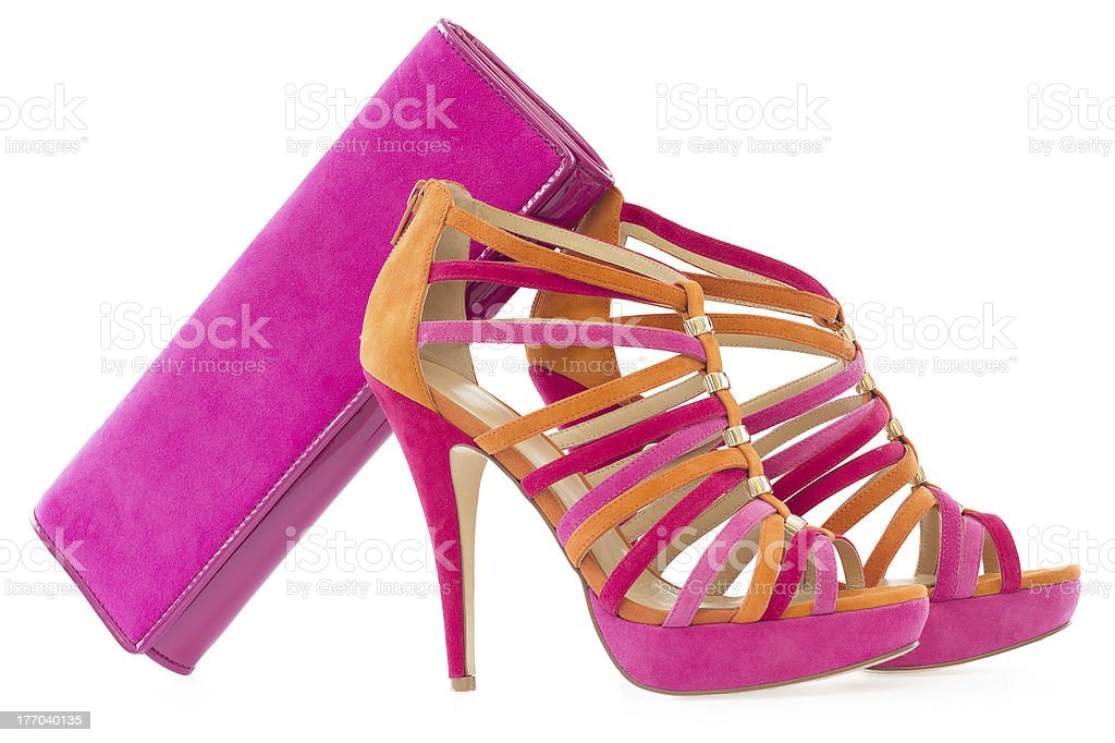 Pink and orange shoes with matching bag, isolated royalty-free stock photo