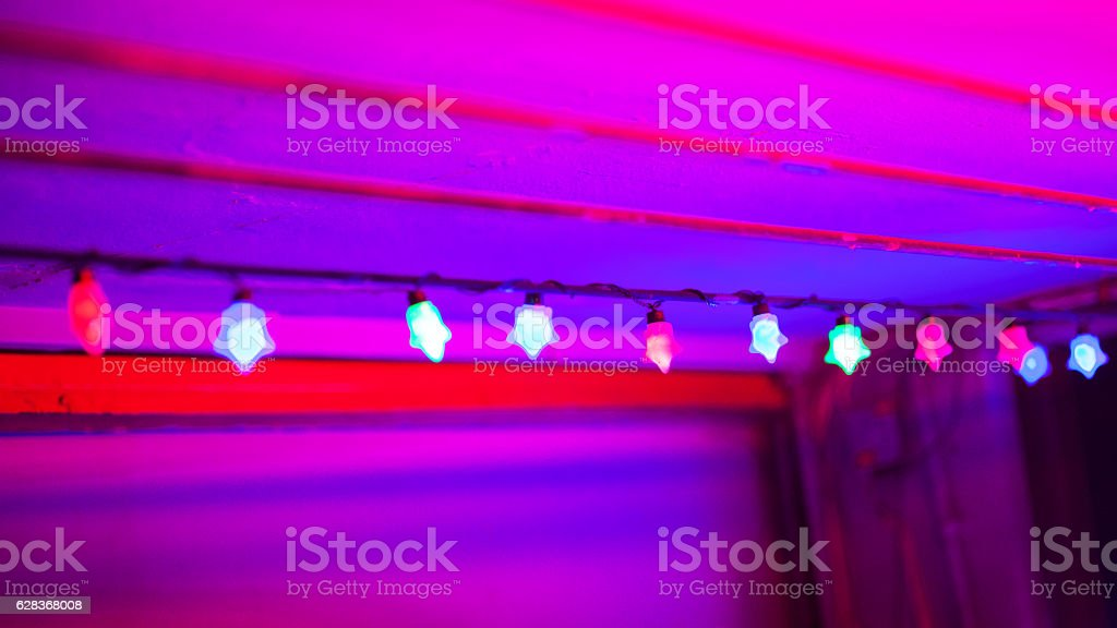 Pink and purple colored entrance area stock photo