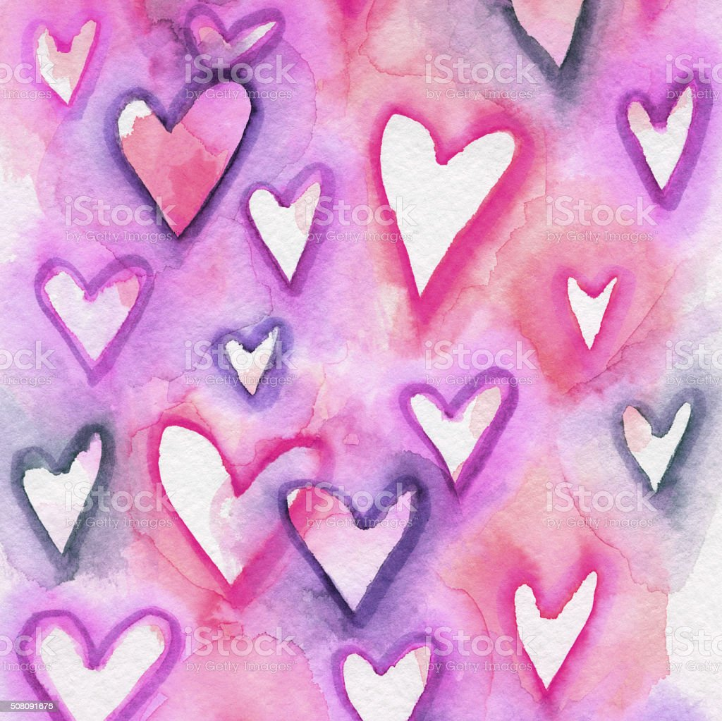 Pink and purple overlapping hand painted hearts stock photo