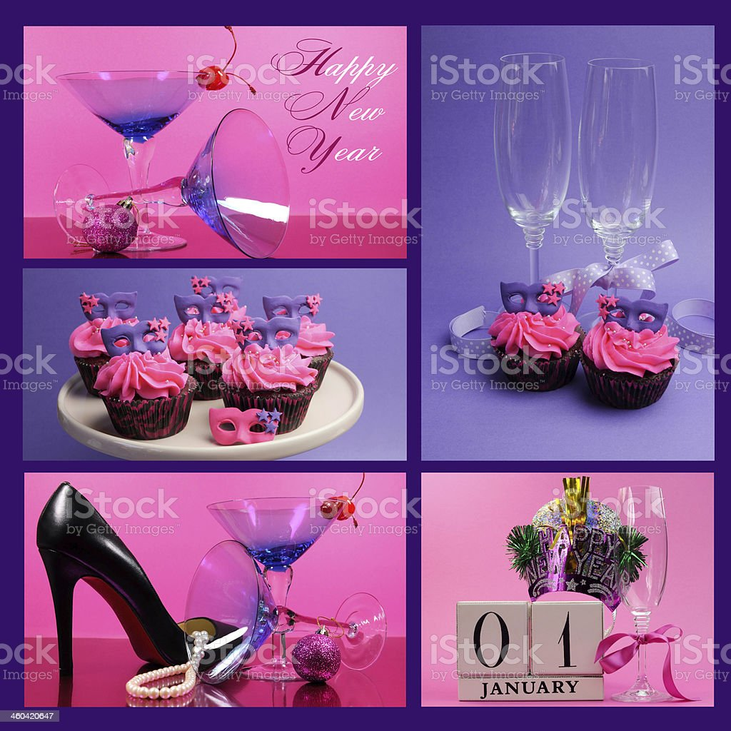 Pink and purple theme Happy New Year collage stock photo