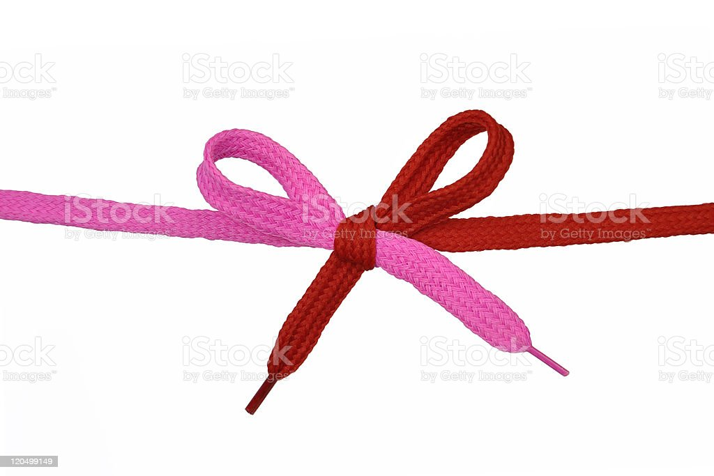 Pink and Red shoelace royalty-free stock photo