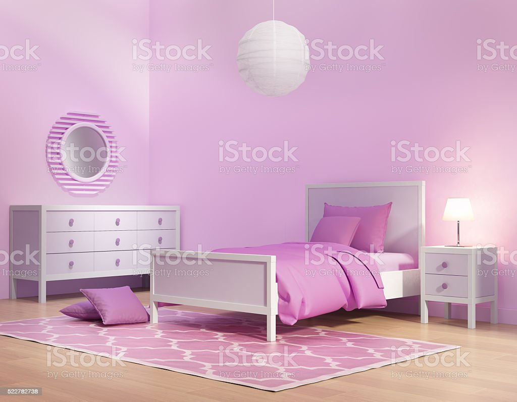 Pink and violet girl's bedroom stock photo