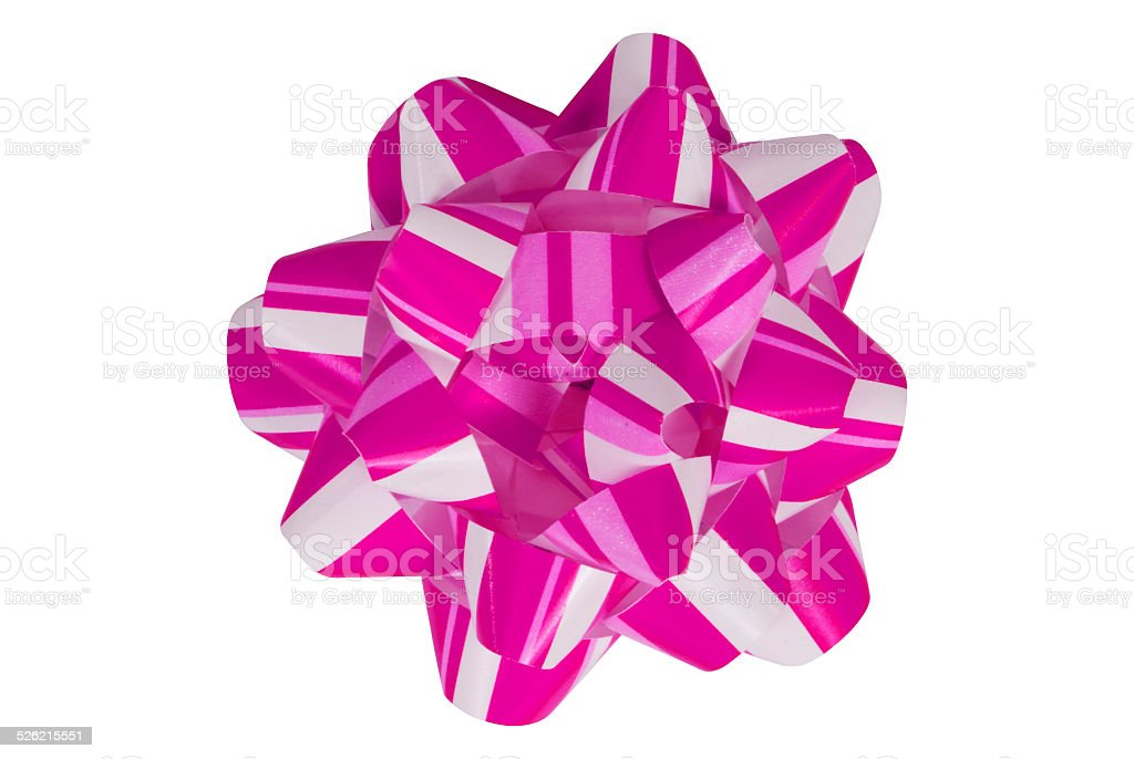 Pink and White Christmas Bow stock photo