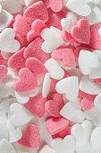 Pink and white decorative  sugar hearts