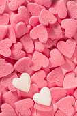 Pink and white decorative  sugar hearts