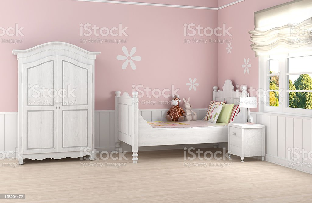 Pink and white girl's bedroom render stock photo
