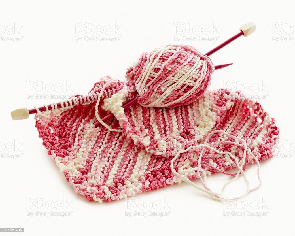 Pink and white Hand Knitted stock photo