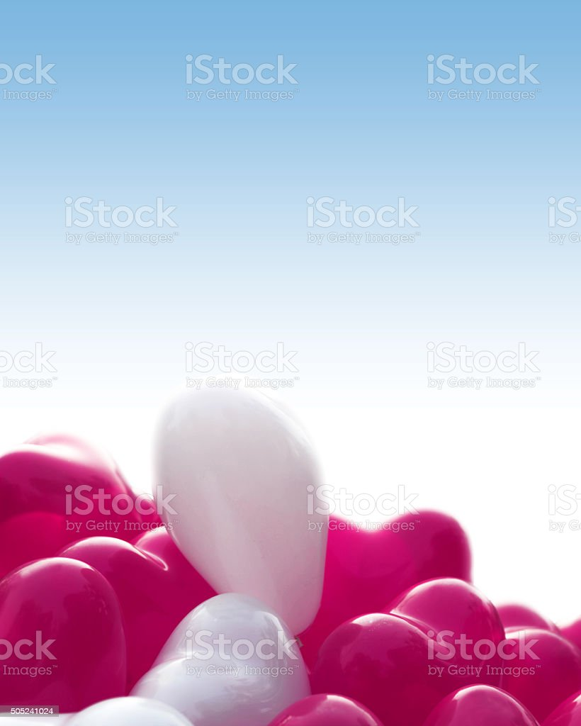 Pink and White heart shape baloons stock photo