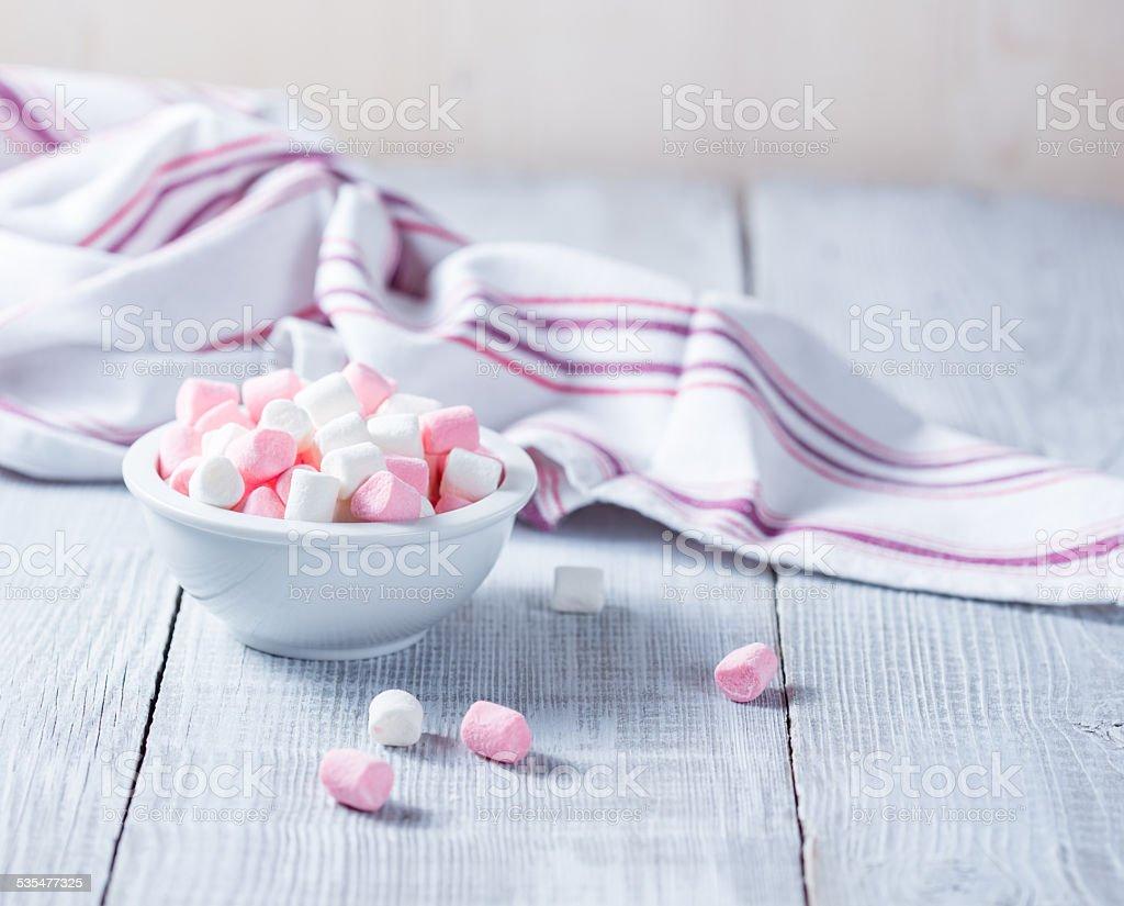 Pink and white marshmallows stock photo
