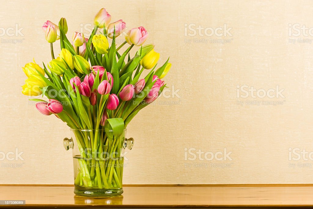 Pink and yellow tulips in a glass vase  royalty-free stock photo