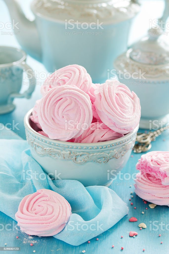 Pink apple marshmallows cooked at home. stock photo