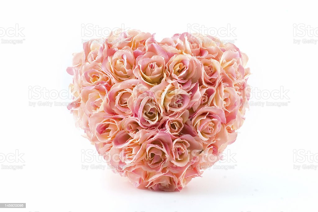 pink artificial roses heart royalty-free stock photo