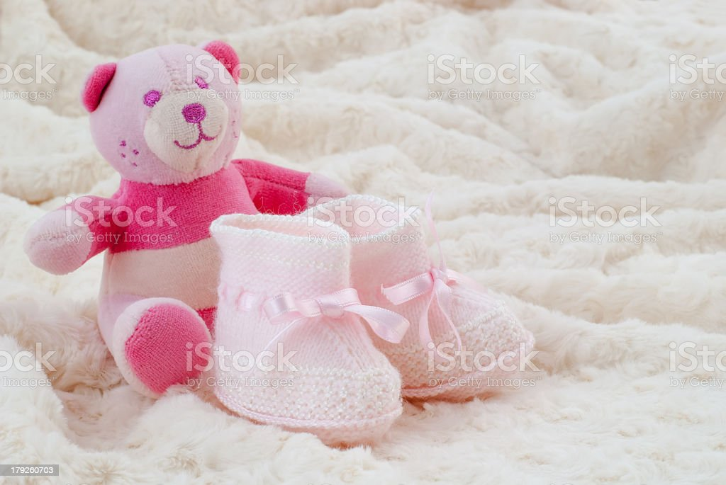 Pink baby booties royalty-free stock photo