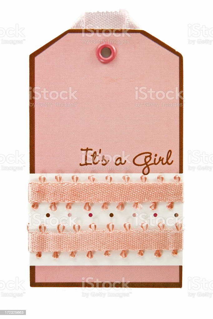 pink baby tag royalty-free stock photo
