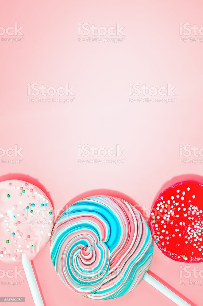 Pink Background With Colored Candy stock photo