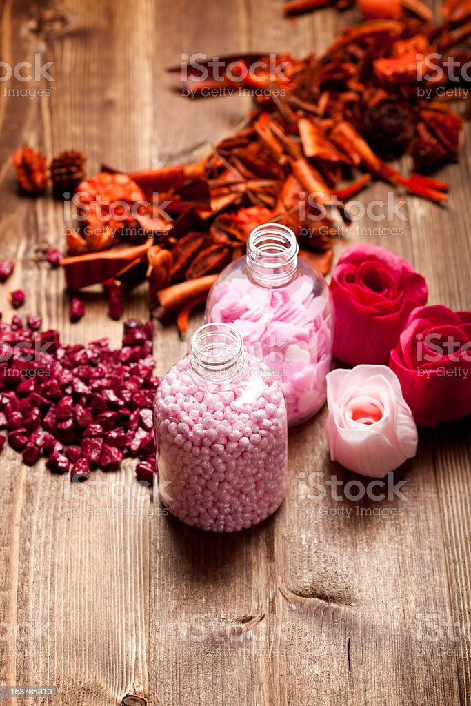 Pink bath salt for aromatherapy royalty-free stock photo