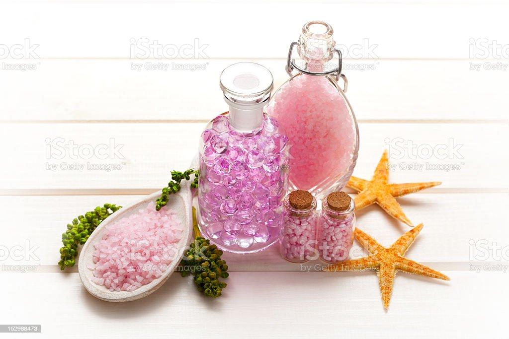 Pink bath salt royalty-free stock photo