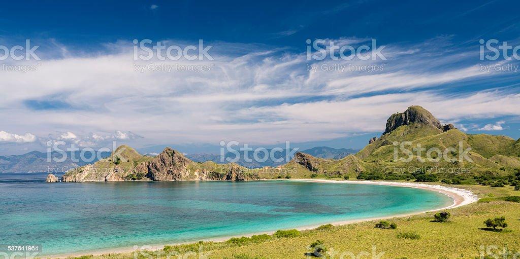 Pink beach in Pulau Padar island in Komodo Flores stock photo