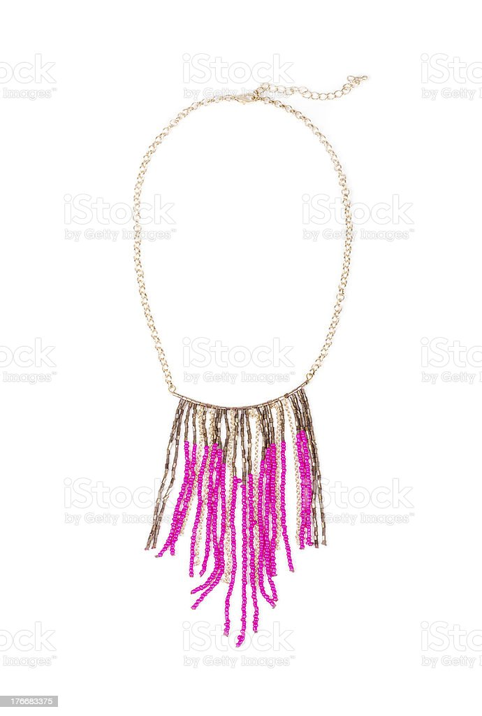 Pink Bead Necklace Isolated on White royalty-free stock photo
