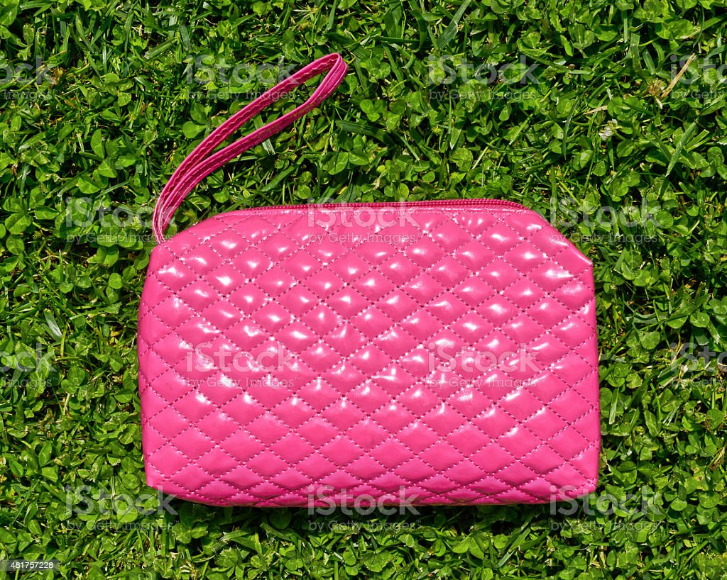 Pink beauty case or cosmetics purse stock photo