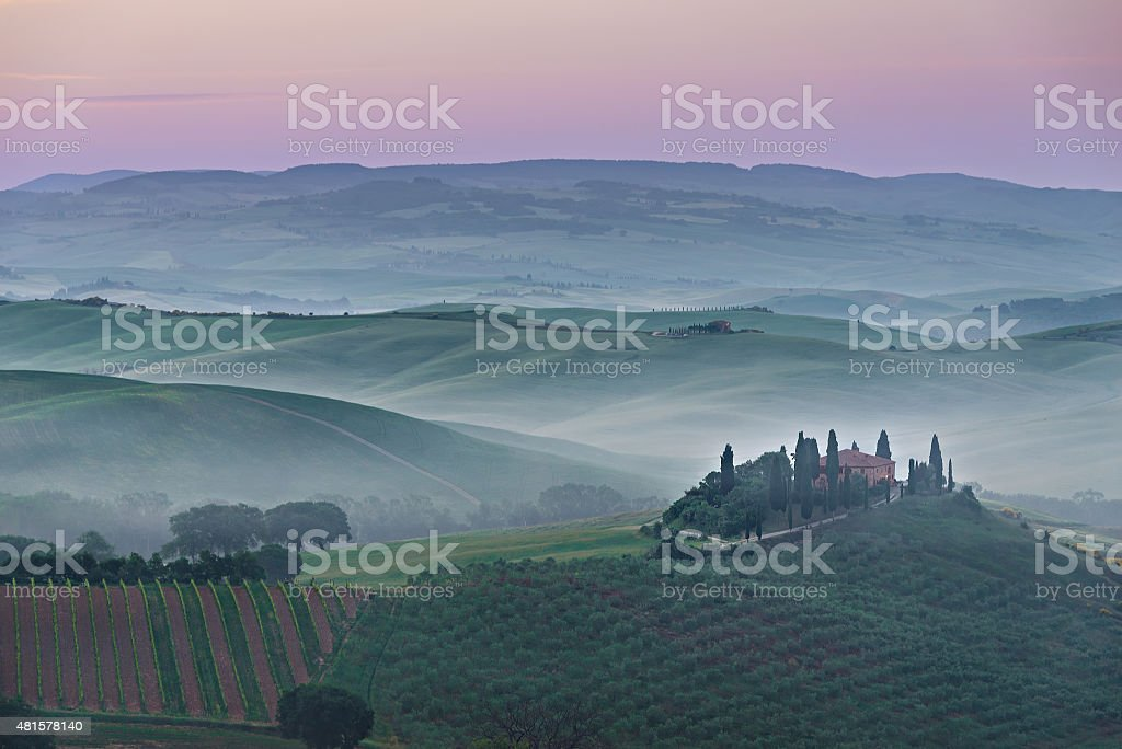 Pink Belvedere sunrise in Tuscany stock photo