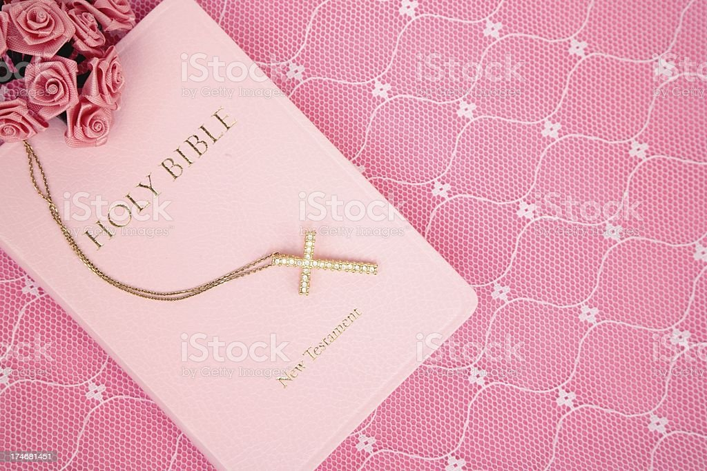 Pink Bible on Lace stock photo