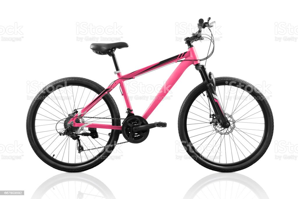 Pink bicycle isolated on white stock photo