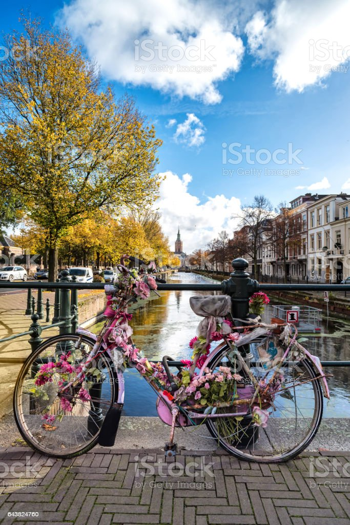 Pink Bicycle on the canal stock photo