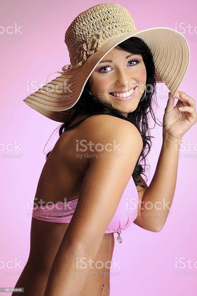 Pink Bikini Beauty With Straw Hat royalty-free stock photo