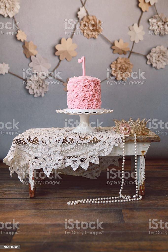 Pink Birthday Cake and Princess Crown stock photo