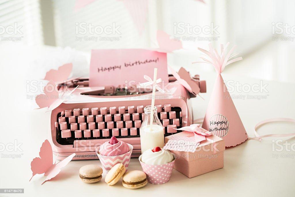 Pink birthday party decoration stock photo