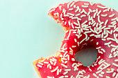 Pink Bitten Donut Close Up