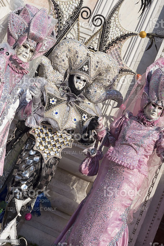 Pink Black Masks San Zacharias Square Venice Carnival 2013 Italy royalty-free stock photo