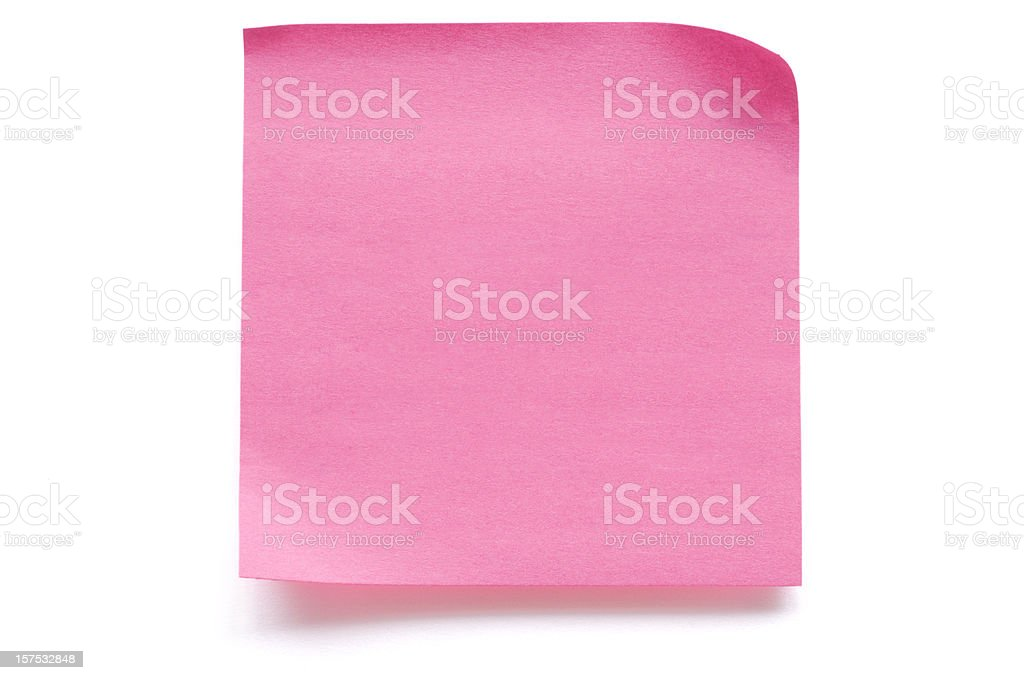 Pink blank note paper isolated on white stock photo