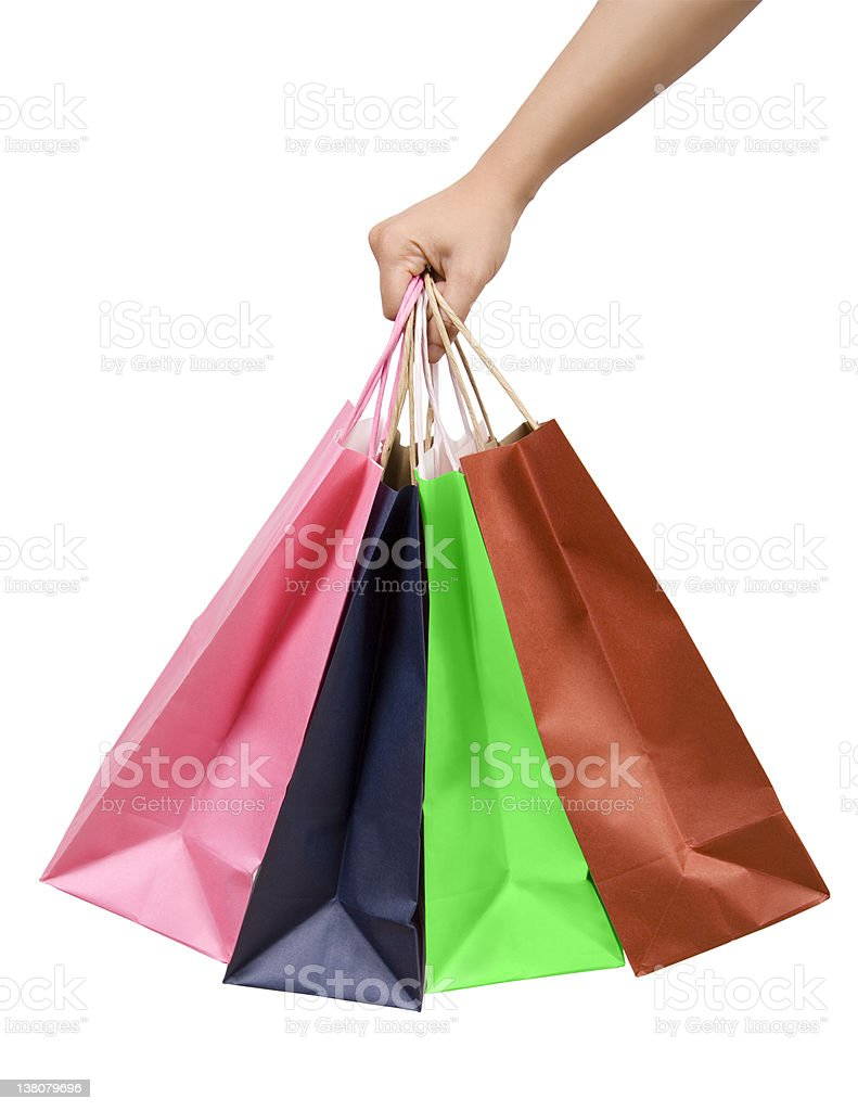 Pink, blue, green and brown shopping bags royalty-free stock photo