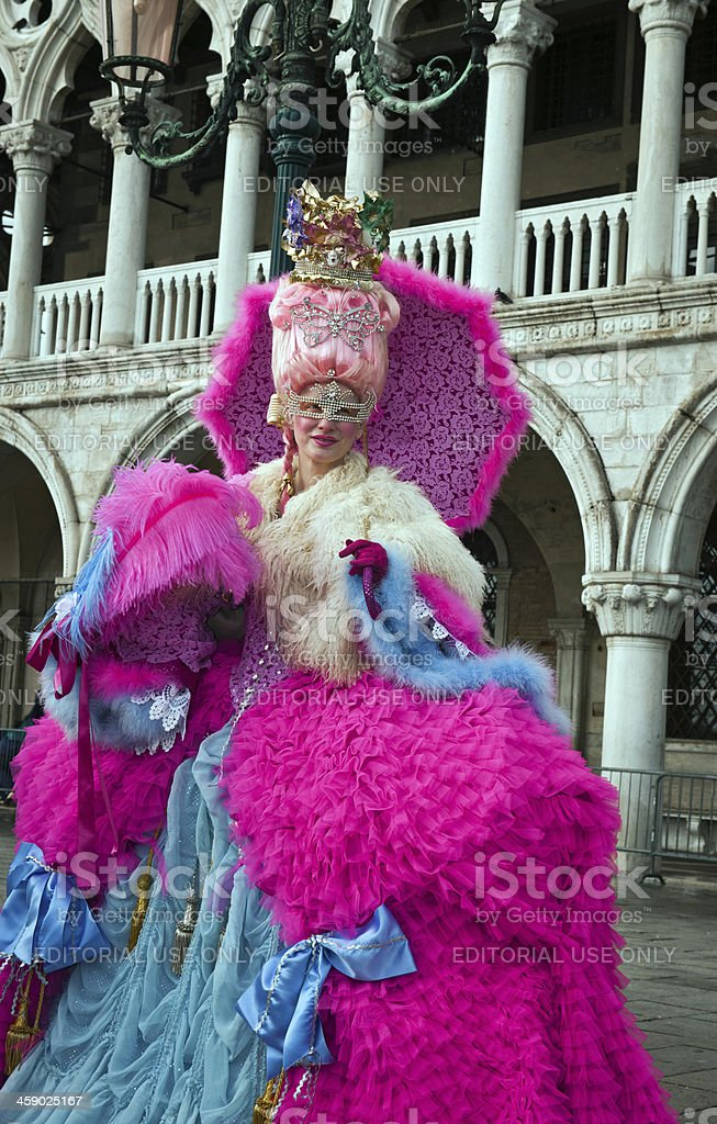 Pink Blue Mask in Venice Carnival 2013 Italy royalty-free stock photo