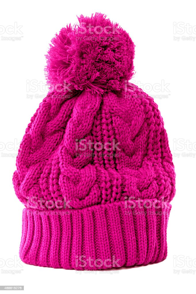 Pink bobble hat stock photo