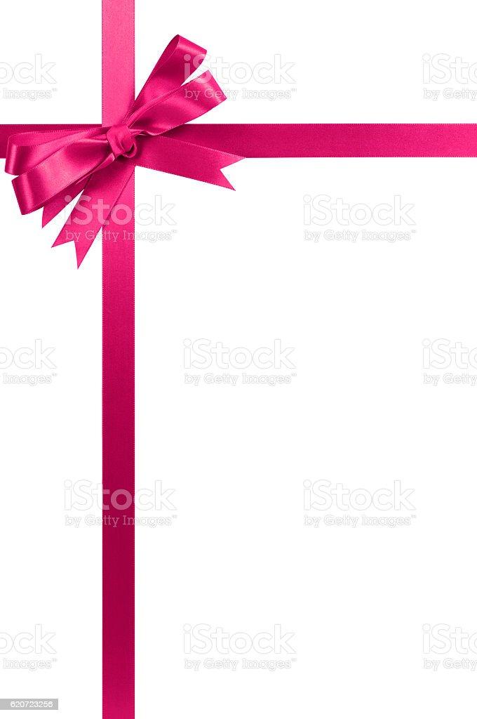 Pink bow gift ribbon long vertical stock photo