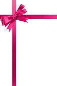 Pink bow gift ribbon long vertical