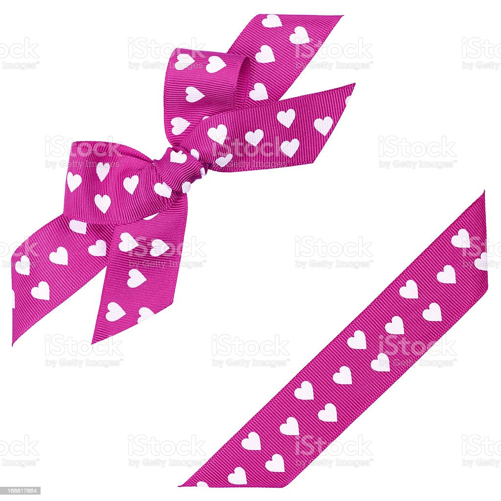 pink bow with hearts and ribbon royalty-free stock photo