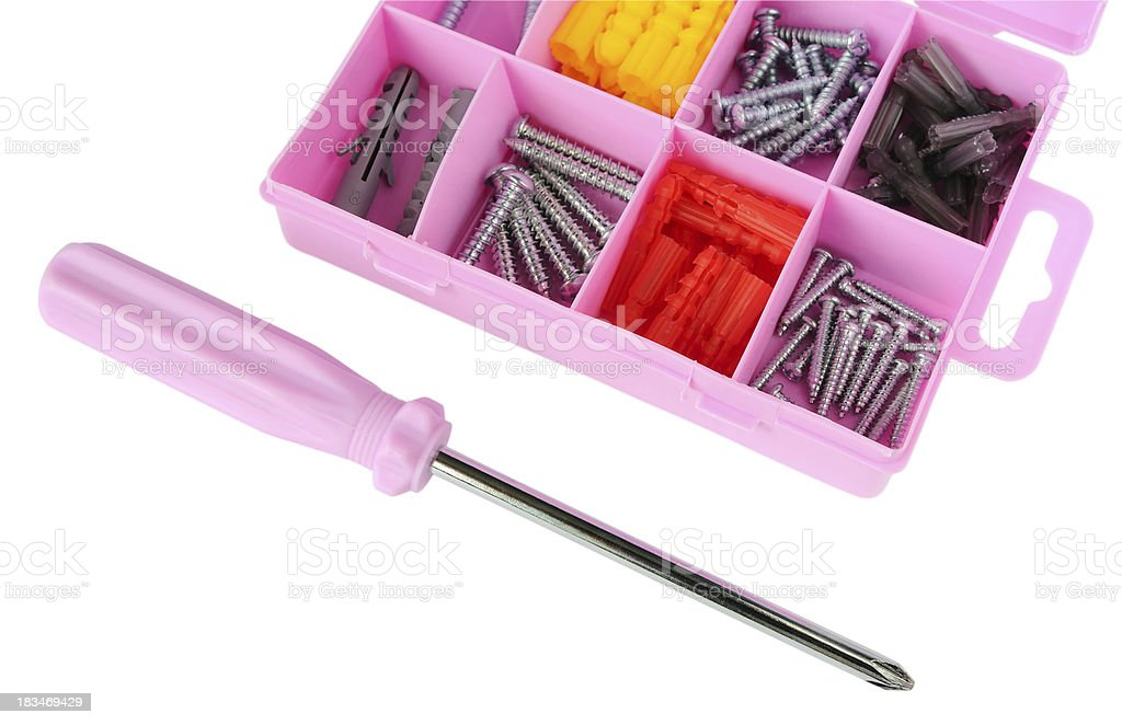 Pink box with screws and screwdriver royalty-free stock photo