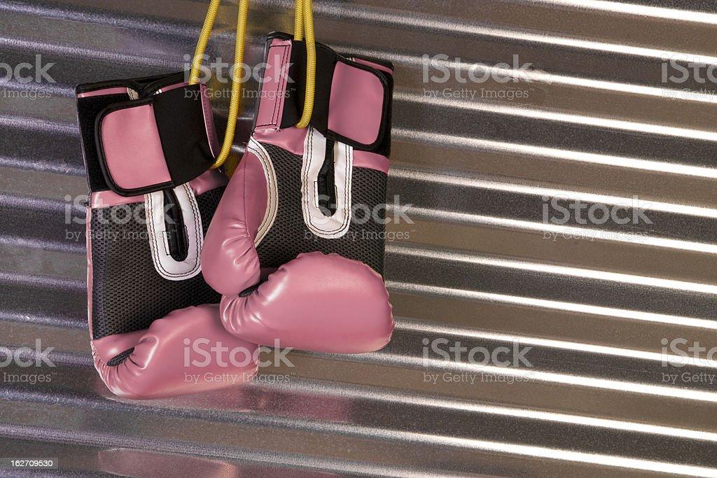 Pink Boxing Gloves Hanging on Hook Metal Shine royalty-free stock photo