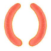 Pink brackets symbols from felt