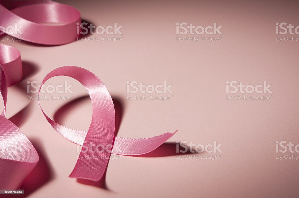 Pink breast cancer awareness ribbon with copy space royalty-free stock photo