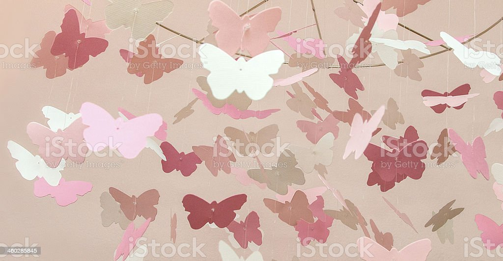 Pink Butterfly Mobile stock photo