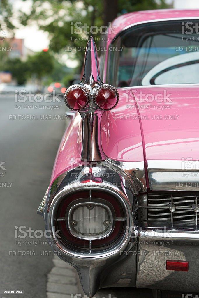 Pink Cadillac Sedan de Ville 1959 'sweep-roof' stock photo